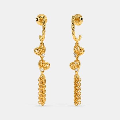 Knits of Hearts Tassel J Hoop Earrings