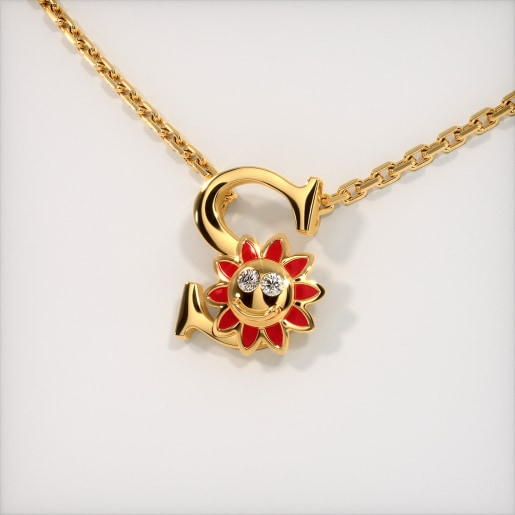 The S for Sunflower Necklace for Kids