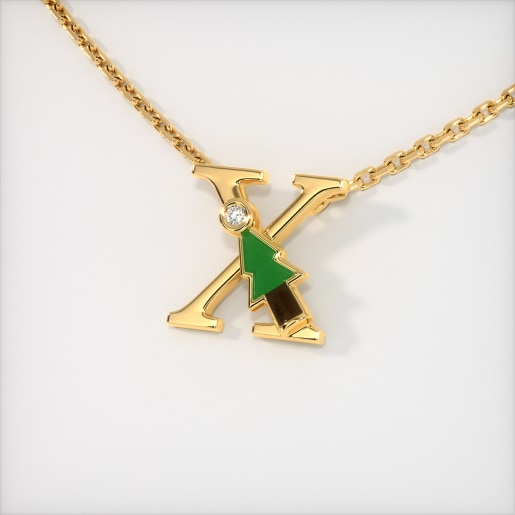 The X for X-mas Tree Necklace for Kids