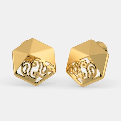 The Faceted Paisley Stud Earrings