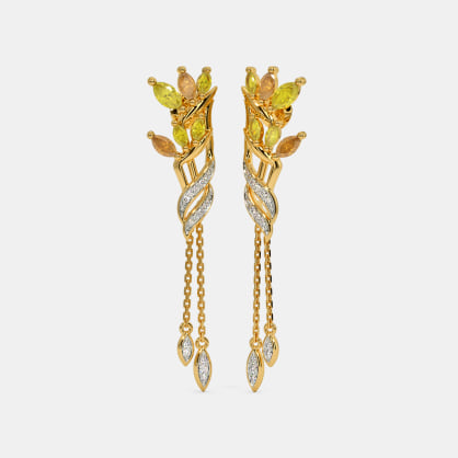 The Crane Flower Long Drop Earrings
