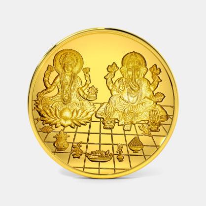 1 gram 24 KT Lakshmi Ganesh Gold Coin