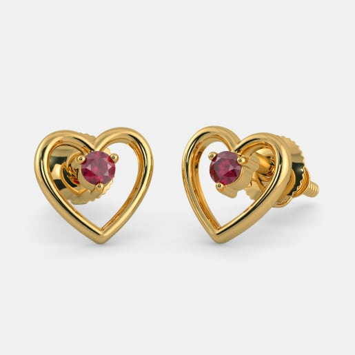 The Red Heart Earrings For Kids